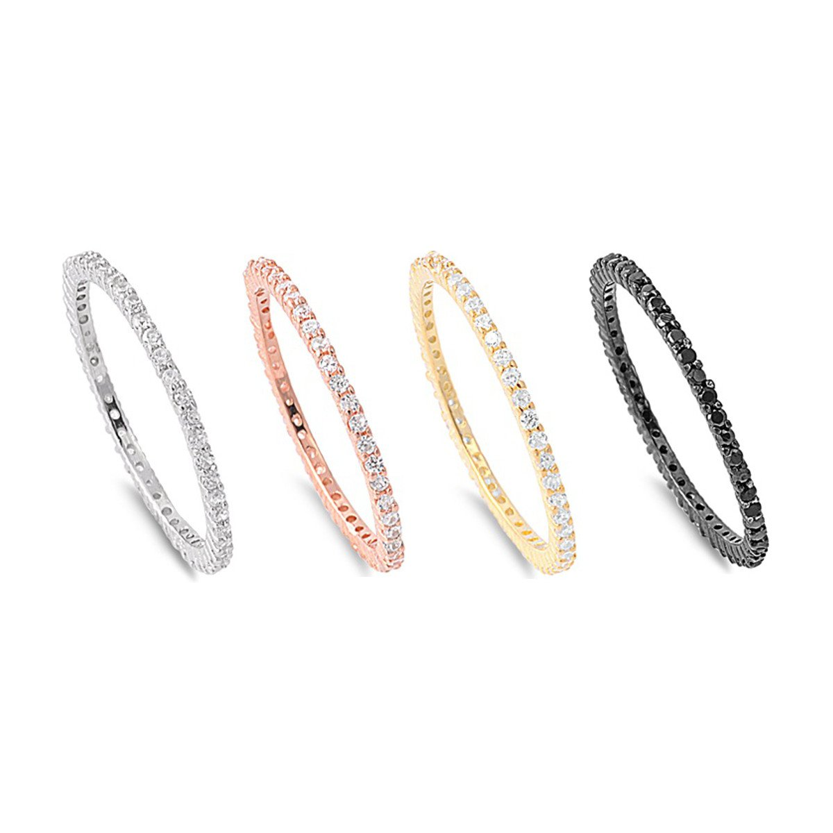 THIN STACKABLE ETERNITY BAND RING Rose Yellow Gold Black Sterling Silver 1.5mm S
