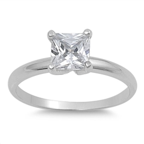 1CT PRINCESS CUT CZ SOLITAIRE .925 Sterling Silver Bridal Engagement Ring Sterli