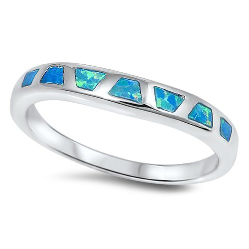 3mm BLUE FIRE OPAL INLAY WEDDING BAND Sterling Silver Bridal Ring Size 5-10