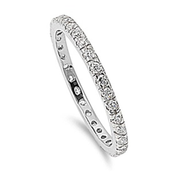 CZ Stackable Eternity Band .925 Sterling Silver Wedding Anniversary Ring 2MM Ste