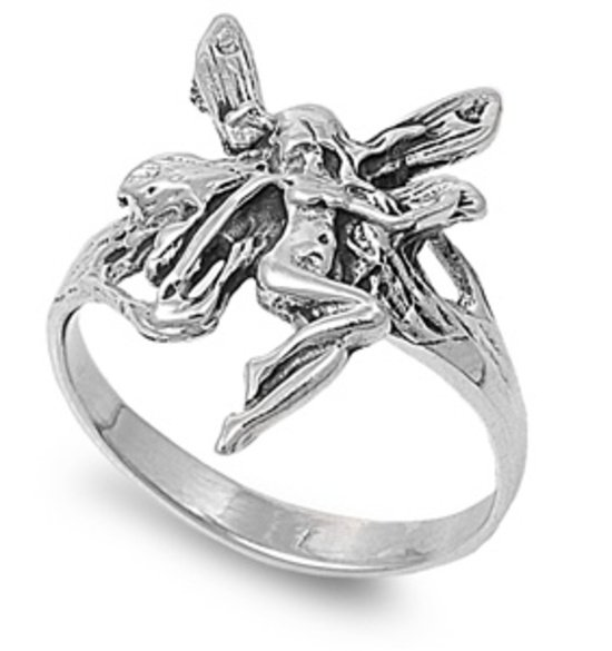 Silver Ring - Fairy 925 Solid Sterling Silver Band  17 mm