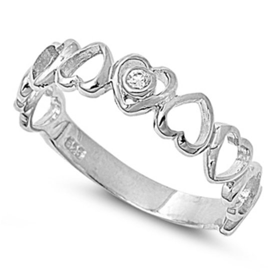 Alternating Heart Shape Silver Cubic Zirconia Band Ring Sterling Silver Bridal R