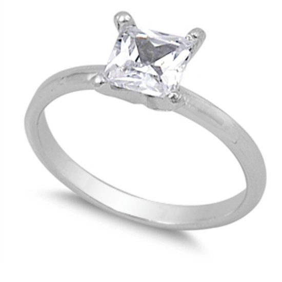 1CT PRINCESS CUT CZ SOLITAIRE ENGAGEMENT RING Solid Sterling Silver Sterling Sil