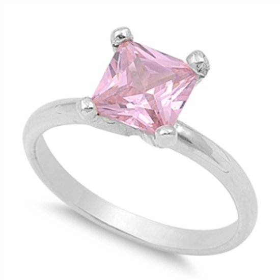 1.5CT PRINCESS CUT PINK CZ SOLITAIRE ENGAGEMENT RING Sterling Silver Sterling Si