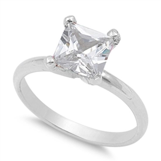 1.5CT PRINCESS CUT CZ SOLITAIRE ENGAGEMENT RING Solid Sterling Silver Sterling S