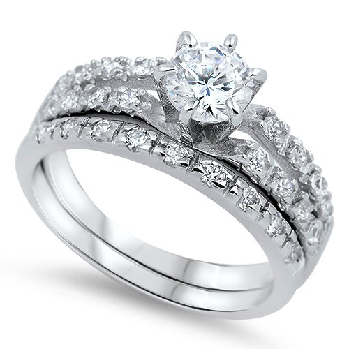 2CT ROUND CUT CZ .925 Sterling Silver Engagement Bridal Wedding Ring Set Bridal