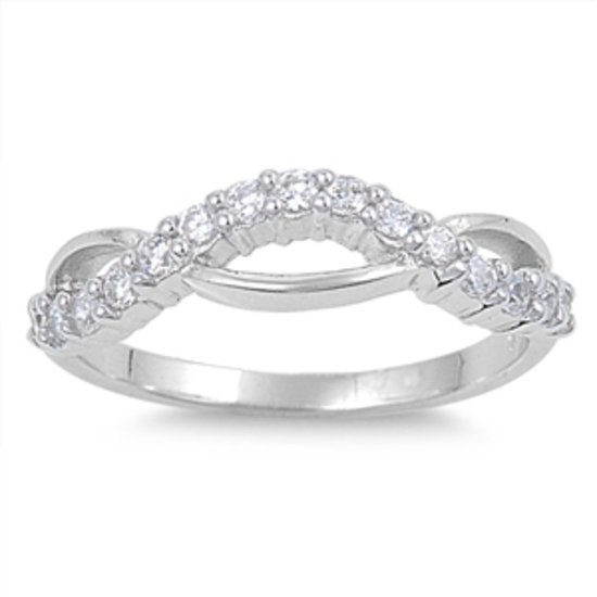 NEW! Thin Infinity Love Knot Clear CZ Solid 925 Sterling Silver Band Ring Sterli