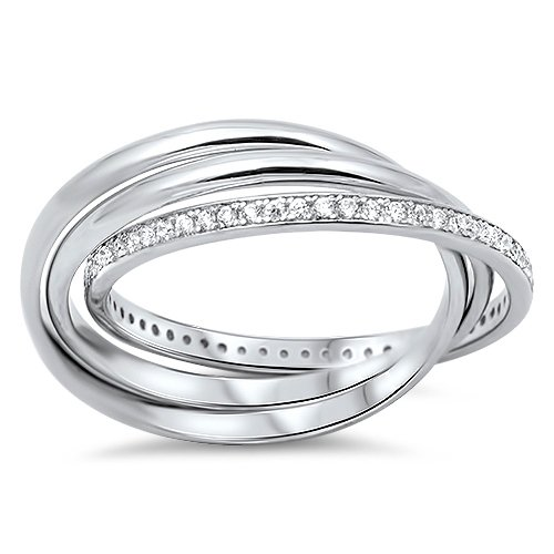 ROLLING TRIPLE BAND CZ WEDDING BAND 925 Sterling Silver Ring Size 5-9 Sterling S