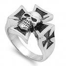 Mens Biker Jewelry Stainless Steel Ring - Skull  w/ Cross
