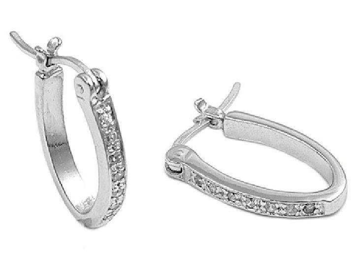 Half Pave Cubic Zirconia Huggie Leverback Earrings Sterling Silver CLEAR