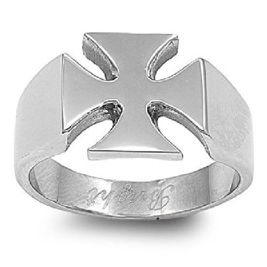 Mens Biker Jewelry Stainless Steel Ring - Cross