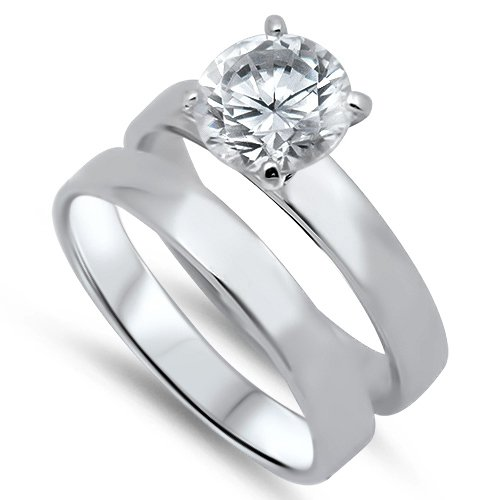 Sterling Silver Brilliant Cut Plain Band Solitaire CZ Wedding Ring Set Bridal