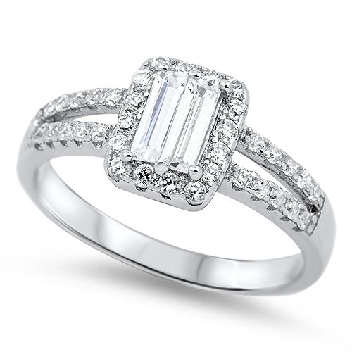 1CT EMERALD CUT HALO CZ ENGAGEMENT RING Sterling Silver Bridal Ring Size 5-10 St