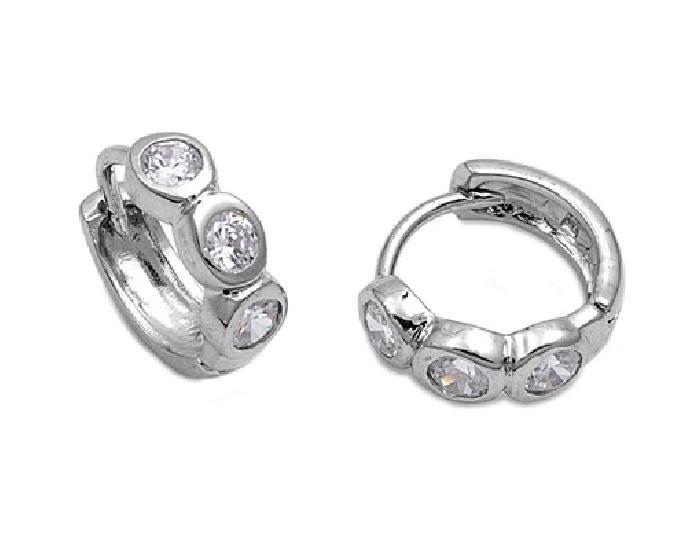 Brilliant Bezel Set Three Stone CZ Huggie Hoop Earrings Sterling Silver CLEAR