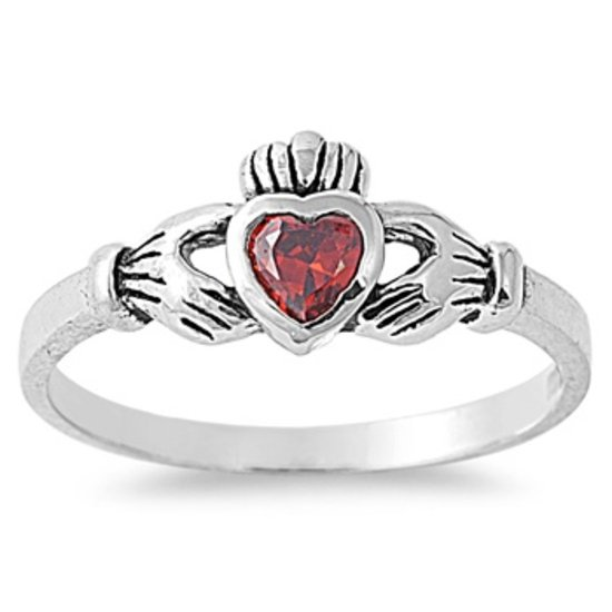 1CT Garnet Cubic Zirconia Claddagh Engagement Ring 7 mm (0.30 inch) Irish Promis