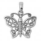Silver Pendant - Butterfly 925 Solid Sterling Silver 14 mm (0.56 inch)