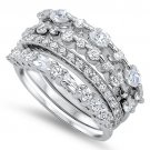Sterling Silver Cluster Set Four Piece Band Cubic Zirconia Wedding Ring Set Brid