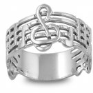 925 Solid Sterling Silver Ring - Music Note Band