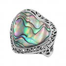 silver Ring W/Stone Natural Abalone .925 Solid Sterling Silver Ring
