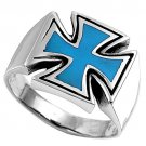 silver Ring W/Stone - Cross Natural TURQUOISE .925 Solid Sterling Silver Ring