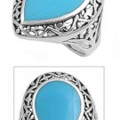 silver Ring W/ Stone - Natural TURQUOISE .925 Solid Sterling Silver Ring