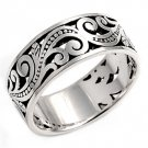 925 Solid Sterling MEN'S OPEN SCROLL SILVER BAND 925 Solid Sterling Silver Ring