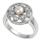 Silver Designer Pearl Brilliant Cubic Zirconia Fashion Ring Solid Sterling CLEAR