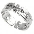 Silver Religious Cross Puzzle Style Band Cubic Zirconia Ring Solid Sterling CLEA