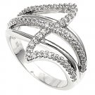 Silver Art Deco Double Shank Cubic Zirconia Fashion Ring Solid Sterling CLEAR