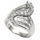 Silver Designer Inspired Cubic Zirconia Fashion Ring Solid Sterling CLEAR