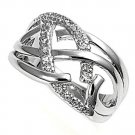 Silver Silver Rhodium Art Deco Cubic Zirconia Fashion Ring Solid Sterling CLEAR