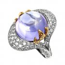 Silver Designer Inspired Two Tone Lavender Pave CZ Fashion Ring Solid Sterling L