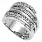 Silver Clasped Alternating Pave Cubic Zirconia Fashion Ring Solid Sterling CLEAR