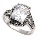 Antique 5CT Solitaire Emerald Cut Cubic Zirconia Marcasite Ring Sterling Silver