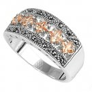 Antique Princess Cut Champagne CZ Tapered Band Marcasite Ring Sterling Silver CH