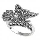Antique Butterfly Design Cubic Zirconia Marcasite Ring Sterling Silver MARCASITE