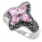 Antique Flower Arranged Pear Cut Pink CZ Marcasite Ring Sterling Silver PINK