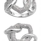 Silver Chained Link Design Pave Cubic Zirconia Fashion Ring Solid Sterling CLEAR