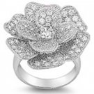 Silver Pave Flower Design Cubic Zirconia Fashion Ring Solid Sterling CLEAR