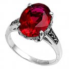 Antique 6CT Oval Cut Ruby Cubic Zirconia Solitaire Marcasite Ring Sterling Silve