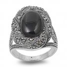 Antique Plus Size Oval Cut Black Onyx CZ Marcasite Ring Sterling Silver BLACK ON