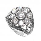 Antique Flower Design Brilliant Cut Cubic Zirconia Marcasite Ring Sterling Silve