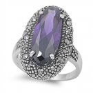 Antique Plus Size Oval Cut Amethyst Cubic Zirconia Vintage Marcasite Ring  Sterl