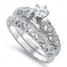 Antique .75CT Brilliant Cut CZ Solitaire Wedding Ring Set  Sterling Silver CLEAR