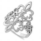 925 Solid Sterling Silver Ring - Fleur De Lise Band 27 mm (1.09 inch)