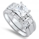 Sterling Silver 1.5CT Princess Cut with Baguettes CZ Wedding Ring Set   Bridal