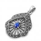 Pear Cut Blue Sapphire Cubic Zirconia Antique Pendant Sterling Silver Antique St