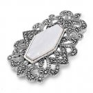 Hexagonal Mother of Pearl Cubic Zirconia Antique Pendant Sterling Silver Antique