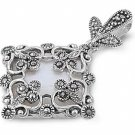 Princess Cut Mother of Pearl CZ Antique Pendant Sterling Silver Antique Style MO