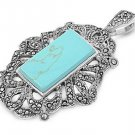 Emerald Cut Turquoise Cubic Zirconia Antique Pendant Sterling Silver Antique Sty